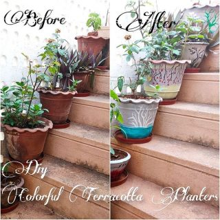 DIY - Colorful Terracotta Planters . Day 17 of #21dayslockdown. Juz completed painting these planters and yesterday's rain refreshed it!! These planters have survived all the weather for more than 10 yrs and now got a make-over 😁 Take a look at the detailed post in the website. Link in the bio. #ecofynd #acolorfulride #homedecordiyandmore #homediydecor #homedcordiy #diydecorhome #diyhomedecorations #terracottapottery  #terracotta_ceramics #terracottainteriors #diyarte #diyarts #diyartandcraft #diyartworks #instahome #artwork  #painting🎨 #plantersclub #planterslife #diyplanters